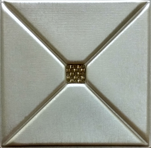 3D Leather Panel Beige Metallic