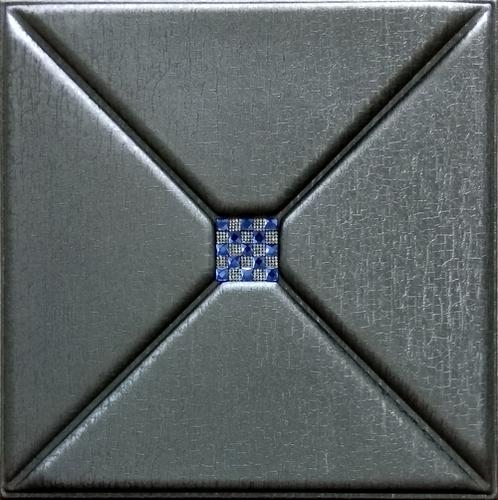 3D Leather Panel Metallic Silver