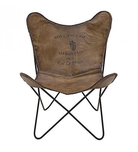 Butterfly Leather Chair Brown