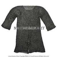 Black Large Size Hauberk Round Ring Riveted Medieval Chain Mail Shirt