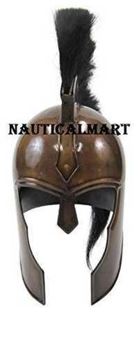 Medieval Armor Trojan War Helmet With Black Plume