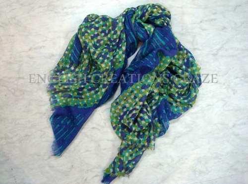 Silk wool printed scarves