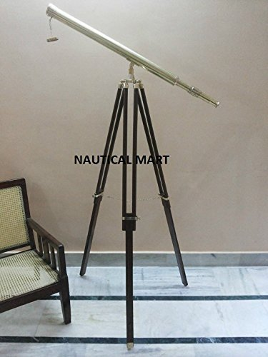 Nautical Maritime Antique Brass Telescope With Wooden Tripod Stand