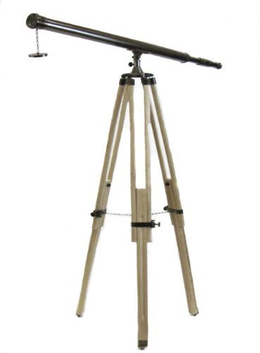 Replica Antique Brass Telescope With Wood Tripod Floor Stand