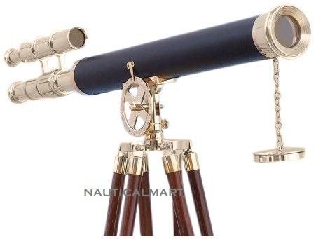 Floor Standing Chrome Leather Telescope