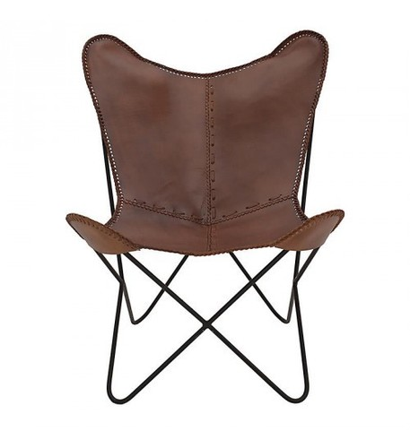 Solid Brown Butterfly Leather Chair