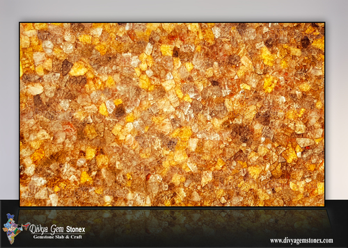 Citrine Crystal Quartz Stone Slab