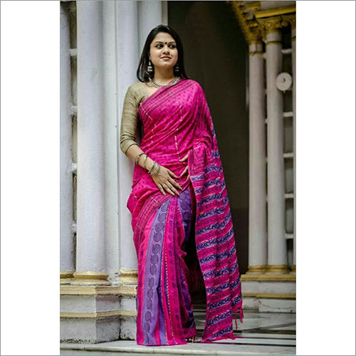 Pink Khesh Print Saree