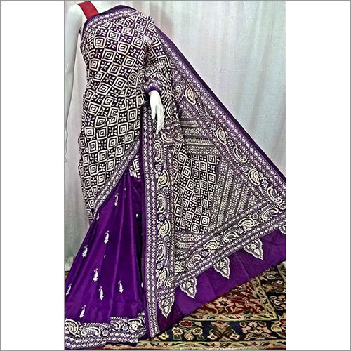 Purpel Silk Katha Saree