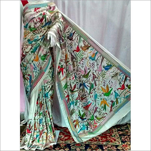 Sky Blue Silk Kantha Saree