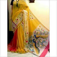 South Cotton Hand Print Saree