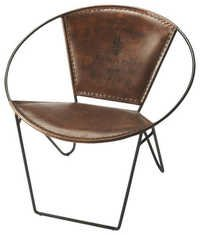 Butterfly Leather Brown arm chair
