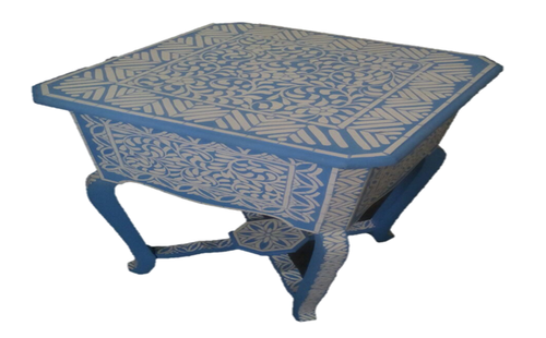 Modern Floral Blue Bone Inlay Table