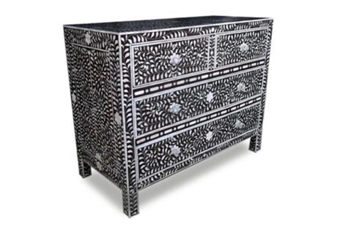 Black & Silver Bone Inlay Drawer Chest