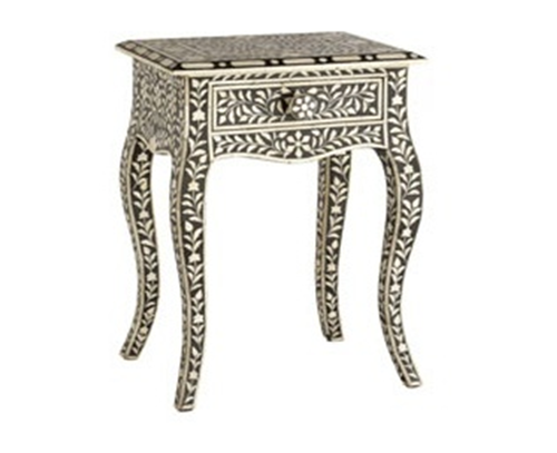 Black & White Floral Bone Inlay Stool