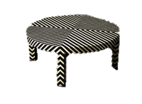 Lining Black & white Bone Stool