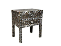 Bone Inlay Painted Black White Chest Drawers
