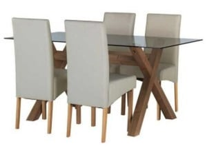 4 Seater Glass Dining Table with Chairs