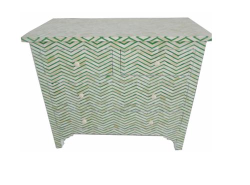 Green Floral Bone Drawer Chest
