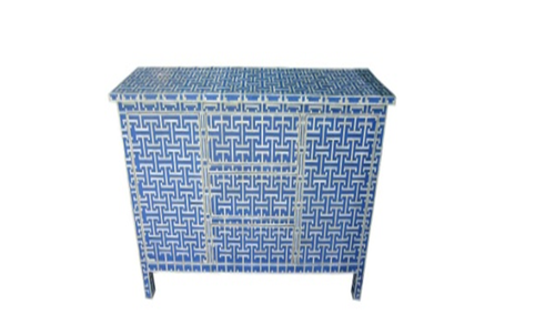 Modern Bone Drawer Chest Blue