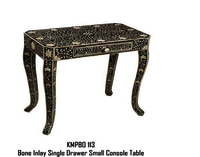 Floral Black & White Bone Inlay Table