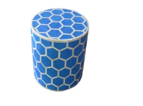 Diamond Design Bone Inlay Stool Blue