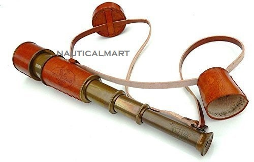 Brass Antique Telescope With Brown Leather Case