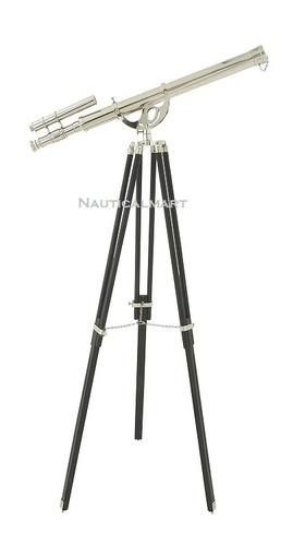 Full Chrome Double Barrel Telescope With Black Tripod Stand