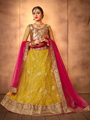 Golden Designer Lehnga Choli