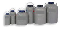 Bio 3 Refrigerators with internal canisters for the storage of straws or cryovials on canes.