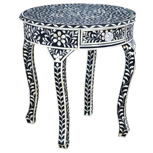 Modern Bone Inlay Floral Black & white Stool