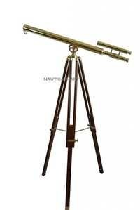 Nautical Full Brass Double Barrel Telescope-Brass Telescope With Tripod Stand