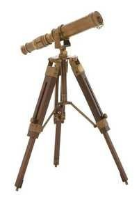 Brown Antique Telescope With Wooden Stand