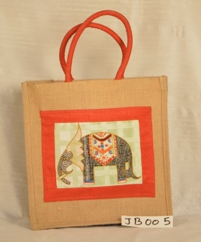 Elephant Embroidery design Lunch Jute Bag