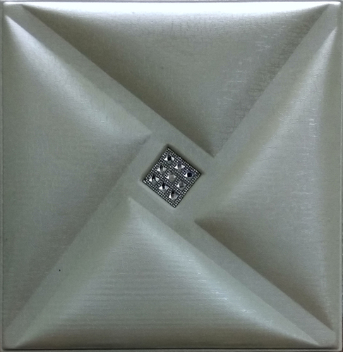 3D Leather Tile Pearl White