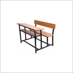 Wooden School Desk With Bench