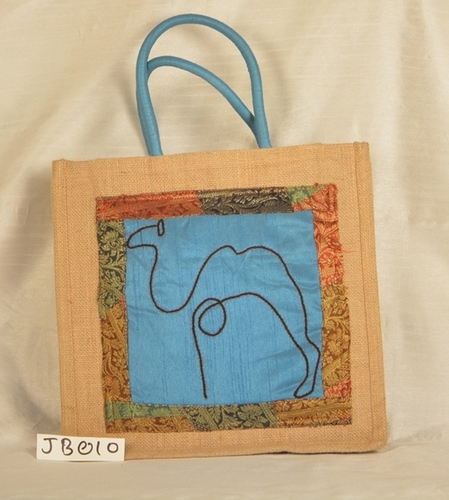 Camel  Embroiderey design Lunch Jute Bag