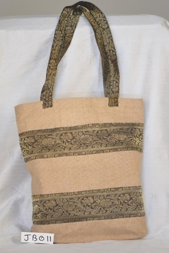 Double Zari Design Shopping Jute Bag