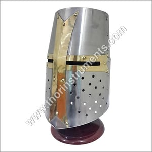 Brass Crusader Helmet With Stand