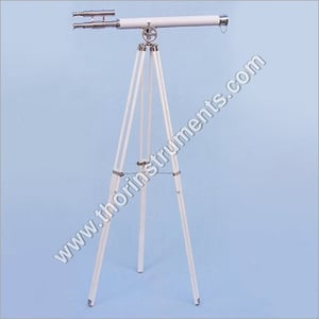 Vintage Telescope White Leather & White Stand
