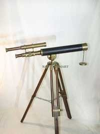 Marine US Navy  Double Barrel Brass Telescope  With Wooden Tripod Stand
