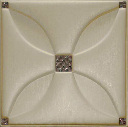 Artificial Metallic Beige Leather Tiles