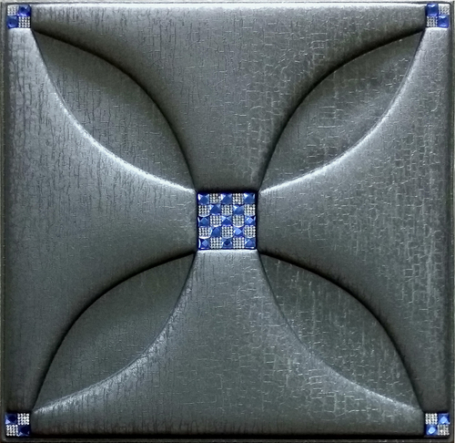 Artificial Metallic Silver Leather Tiles