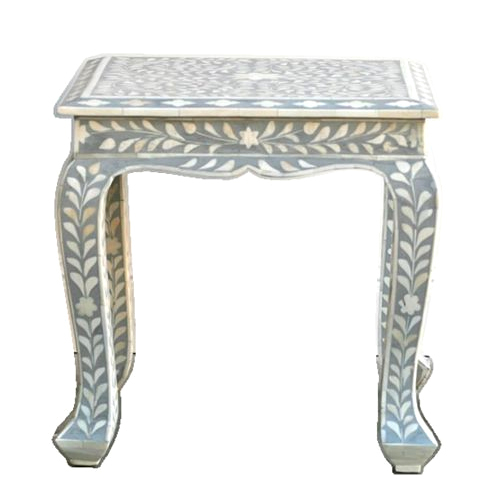 Black and white floral Bone Inlay Stool