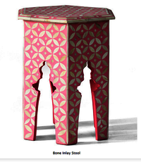 Eye Design Bone Inlay Stool Pink