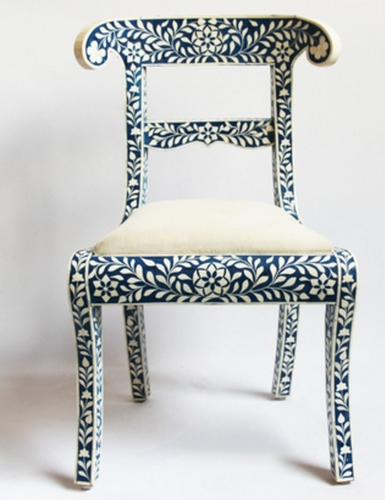 Antique Rustic Blue Bone Inlay Chair