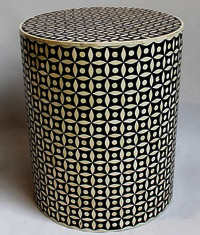 French Bone Inlay Round Stool