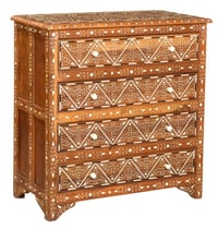 Antique Rustic Butler Bone Inlay Accent  Chest of Drawer Handmade Inlay Furniture