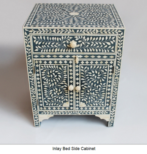 Bone Inlay geometric bedside one Drawers