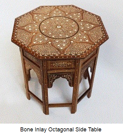 Bone Inlay Stool Floral Brown